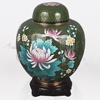 China Pink and Green Cloisonné Cremation Urn