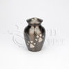 Small Gunmetal Paw Print Vase Brass Metal Pet Cremation Urn