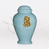 Teddy Bear Blue Ceramic Child and Infant Cremation Urn