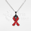 Red Ribbon Sterling Silver Cremation Jewelry Necklace