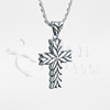 Starburst Cross Sterling Silver Cremation Jewelry Necklace
