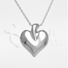 Modern Heart Sterling Silver Cremation Jewelry Necklace