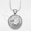 Eagle Feather Round Sterling Silver Cremation Jewelry Necklace