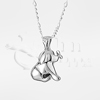 Puppy and Butterfly Sterling Silver Cremation Jewelry Necklace
