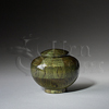 Peony Flower Pedal Green Wood Token Cremation Urn