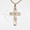 Floral Pattern Cross 14K Gold Cremation Jewelry Necklace