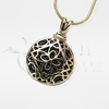Round Filigree 14K Gold Cremation Jewelry Necklace