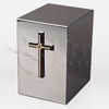 Silhouette Cross with Cross Mirror Finish Stainless Steel Metal Cremation Urn