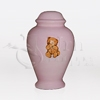 Teddy Bear Pink Ceramic Child and Infant Cremation Urn