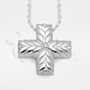 Short Leaves and Berries Cross Sterling Silver Cremation Jewelry Necklace