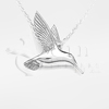 3D Hummingbird Sterling Silver Cremation Jewelry Necklace