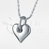 Center Heart Sterling Silver Cremation Jewelry Necklace