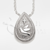 Dove and Star Tear Drop Sterling Silver Cremation Jewelry Necklace