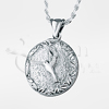 Hummingbird Round Sterling Silver Cremation Jewelry Necklace