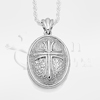 Spanish Cross Oval Sterling Silver Cremation Jewelry Necklace