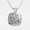 Sunburst Cushion Sterling Silver Cremation Jewelry Necklace