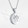 Dog Paw Round Sterling Silver Cremation Jewelry Necklace