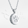 Cat Paw Round Sterling Silver Cremation Jewelry Necklace
