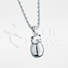 Plump Kitty Sterling Silver Cremation Jewelry Necklace