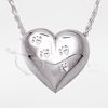 Paw Prints Heart Sterling Silver Cremation Jewelry Necklace
