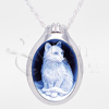 Cat Cameo Sterling Silver Cremation Jewelry Necklace