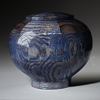 Peony Flower Pedal Blue Wood Cremation Urn